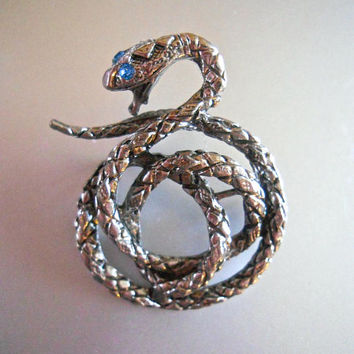 Snake Lapel Tie-Tack Pin, Antique Silver Tone, Double Tacks, Rhinestone, Vintage