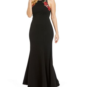 B. Darlin Plus Sleeveless Embroidered Long Dress | Dillards