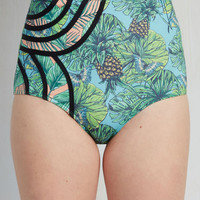 Set the Serene Swimsuit Bottom in Pineapples | Mod Retro Vintage Bathing Suits | ModCloth.com