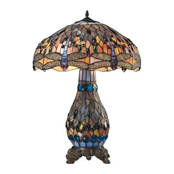 72079-3 Dragonfly Tiffany Glass Table Lamp in Tiffany Bronze - Free Shipping!
