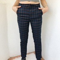 DANNY PLAID PANTS- NAVY