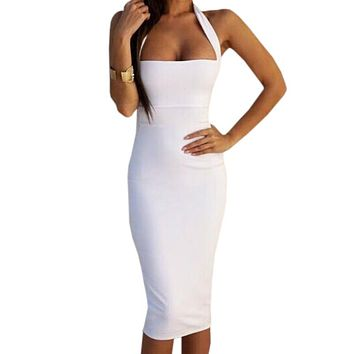 Bandage Bodycon Dress Halter Strapless Party Dresses Sleeveless Knee-Length Women Summer Dress
