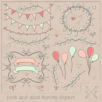 Pink, coral and mint hand drawn bunting frames garland laurels balloons hearts digital clipart for logos and card making scrapbooking