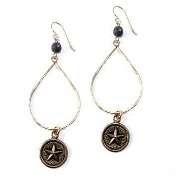 STAR Large Teardrop Antique Button Earrings - BRONZE w/ gemstone