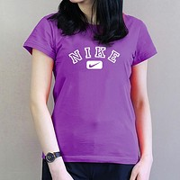 NIKE Summer Popular Women Casual Round Collar T-Shirt Top Purple