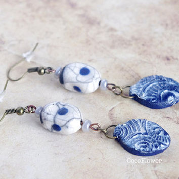 Nautical blue white ceramic earring leaf jewerly raku japanese style artisan