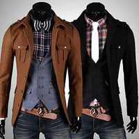 Fashion Men Slim Fit Wool Jacket