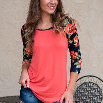 Floral Frenzie Rounded Hem Top : Coral