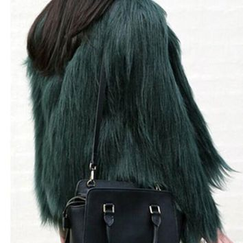 Green Fur Irregular Plus Size Round Neck Long Sleeve Fashion Faux Fur Christmas Cardigan Coat