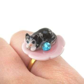 Porcelain Black Baby Kitty Cat Shaped Adjustable Animal Ring | Handmade