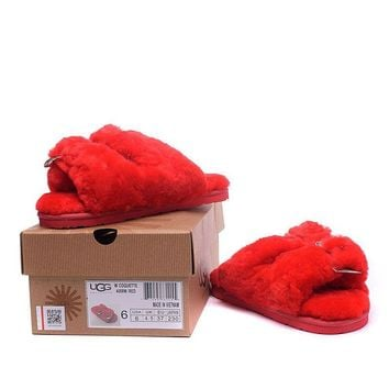 ESBON UGG 4088 Double Breasted Open Toe Slipper Women Men Fashion Casual Wool Winter Snow Boots Red