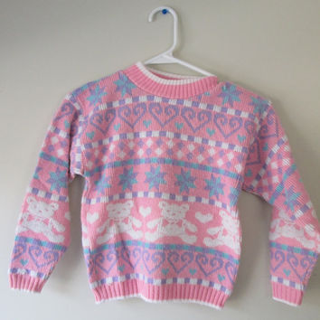 Vintage 90s Pastel Teddy Bear Size 5/6 Girls Sweater
