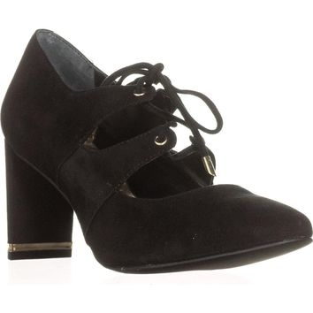 A35 Binddi Block Heel Lace Up Mary Jane Pumps, Black, 5.5 US