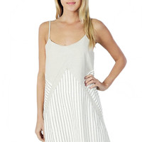 Temecula Striped Shift Dress - Khaki + Off White