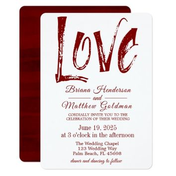 Love Red Watercolor Typography Wedding Invitation