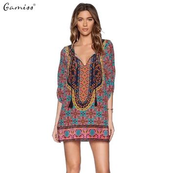 Gamiss Summer Dresses Women Vintage Ethnic Dress Brand Baroque Style Floral Print Beach Shift Dress Boho Hippie Dress