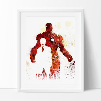 Iron Man Art Print, SuperHero Art, SuperHero Print, ironman Watercolor Print, Birthday, Nursery Gift Art Print Kids Comic Poster (38)