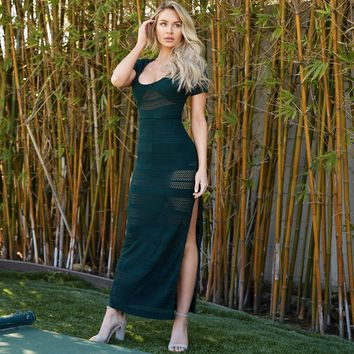 Walk This Way Maxi Dress In Hunter Green