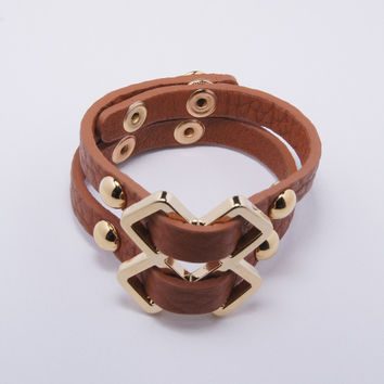 Tribal Leather Bracelet, Tan & Gold