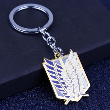Cool Attack on Titan  Hot Anime  KeyChain Anime Enamel Wing Rose Unicorn Fencing Pattern Keyring Key Chain Ring Movie Jewelry AT_90_11