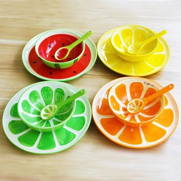 3pcs/ Glazed hand-painted ceramic fruit plate spoons bowl fruit plate creative home dishes