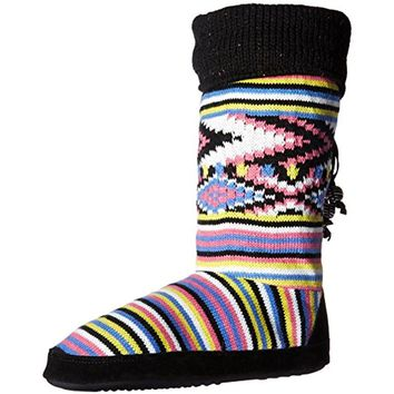 Muk Luks Womens Striped Faux Fur Bootie Slippers