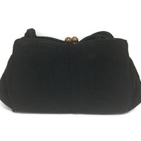 1940s Purse, Vintage Small but Roomy Black Corde Handbag, 1940s Handbag
