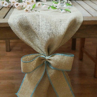 Burlap Table Runner, Plain with Burlap Bow, Colored Thread, Rustic Wedding, Wedding Table Runner, Party Decoration, Custom Length Available