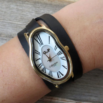 Salvador Dali Watch - Women's Watches - Leather Watch - Wrist Watch - Watches For Women - Dali Wrist Watch - Black Watch - Warp Watch