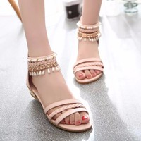Summer Beads Covered Heel Women Flat Sandals