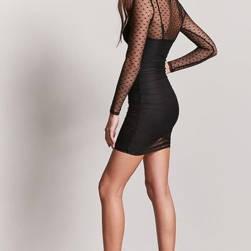 Ruched Sheer Mesh Dress