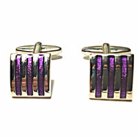 Vintage Square Cufflinks with Metallic Purple Stripes Art Deco Modern Silvertone
