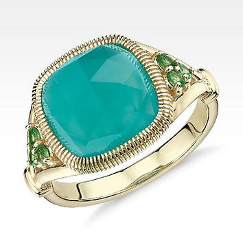 NEW Frances Gadbois Aqua Chalcedony Cushion Cut Cocktail Ring in 14k Yellow Gold