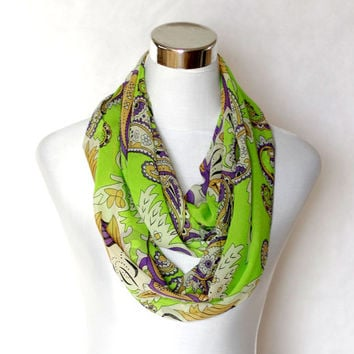 Lime Green Paisley chiffon  Infinity Scarf with Purple Ornaments  Soft Lightweight shawl schal Fashion summer Scarves circle wrap loop gift