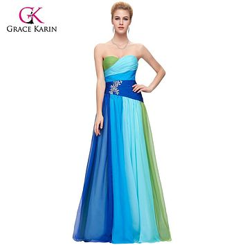 2017 Grace Karin Colorful Blue Green/Red Chiffon Long Evening Dresses Cheap Rainbow Prom Gown Formal Party Dress 6069