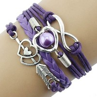 Promithi Infinity Love Heart Pearl Friendship Antique Leather Charm Bracelet (purple)