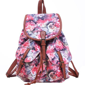 Women's Large Canvas Rose Flower Daypack Backpack Travel Bag by YeSiYan
