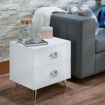 Acme 97334 Elms white finish wood 2 drawer nightstand bed side end table