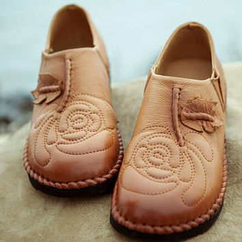 Handmade Shoes,Oxford Women Shoes, Flat Shoes, Retro Leather Shoes, Casual Shoes, Slip On Shoes, Spring/Autumn Shoes