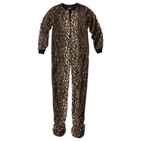Nick & Nora® Women's Jungle Jim Animal Print Footie Pajama - Brown/Black