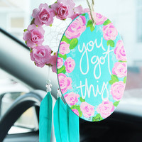You Got This Handlettered Car Accessory: Inspirational Quote Sign, Anxiety Relief, Car Accessory for Women, Rearview Mirror Accessory, Boho
