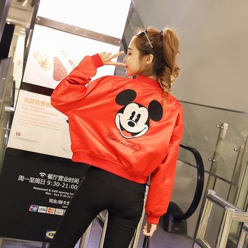 New 2017 spring women ladies mickey bomber oversize Jacket embroidery letter long sleeve loose boyfriend coat bomber jacket