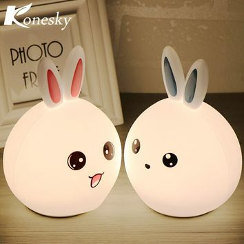 Colorful Rabbit Bunny LED Night Light Rechargeable Animal Silicone Soft Cartoon Sensor Touch Lamp Children Baby Kids Cute Lights