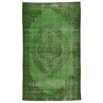 "Pre-owned Tulip Green Medallion Turkish Rug - 5'7"" x 9'3"""