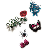 TAFLY Women 3d Floral+rose+butterfly+spider Body Art Temporary Tattoos Stickers