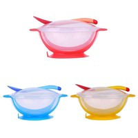 3Pcs/set Baby Tableware Dinnerware Suction Bowl with Temperature Sensing Spoon baby food Baby Feeding Bowls