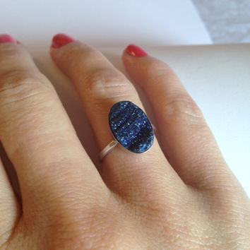 Beloved Blue Mystic Druzy Agate Cabochon Statement Sterling Silver Ring