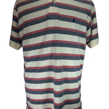 Polo Ralph Lauren Short Sleeve Casual Shirt White Red Blue Striped - LARGE