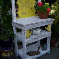 Potting or Hutch Table - Handmade Shabby Cottage, Paris Apartment, French Country, Distressed Furniture - LOCAL ONLY