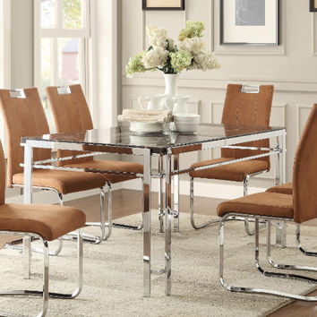 Homelegance HE-5178-60-BRS-7PC 7 pc Watt faux marble top chrome accents dining table set camel brown chairs